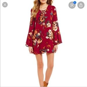 Bell sleeve flare mini dress - boutique